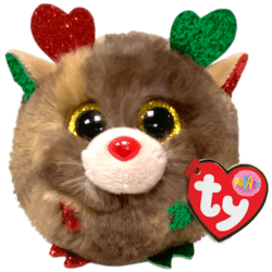TY Puffies FUDGE - Christmas reindeer puf