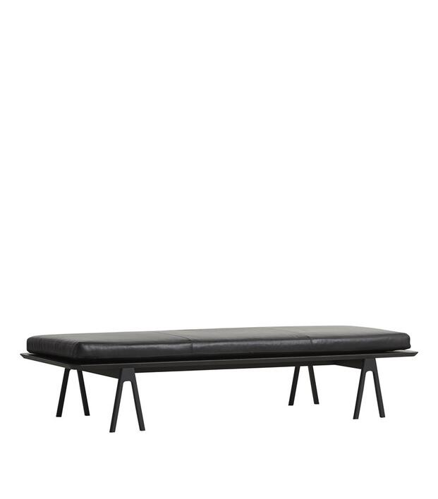 Woud Level daybed, Black oak/Black leather