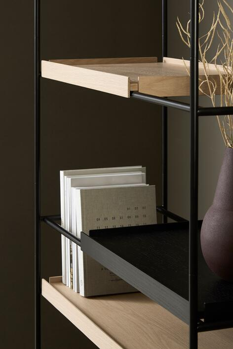 Woud Tray Shelf (High), black