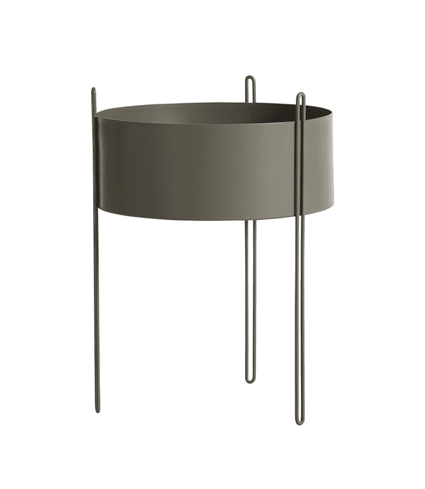 Woud Pidestall planter (Large), taupe